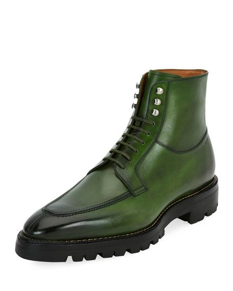 BALLY Skyman Lug-Sole Leather Ankle Boot, Lime. #bally #shoes #