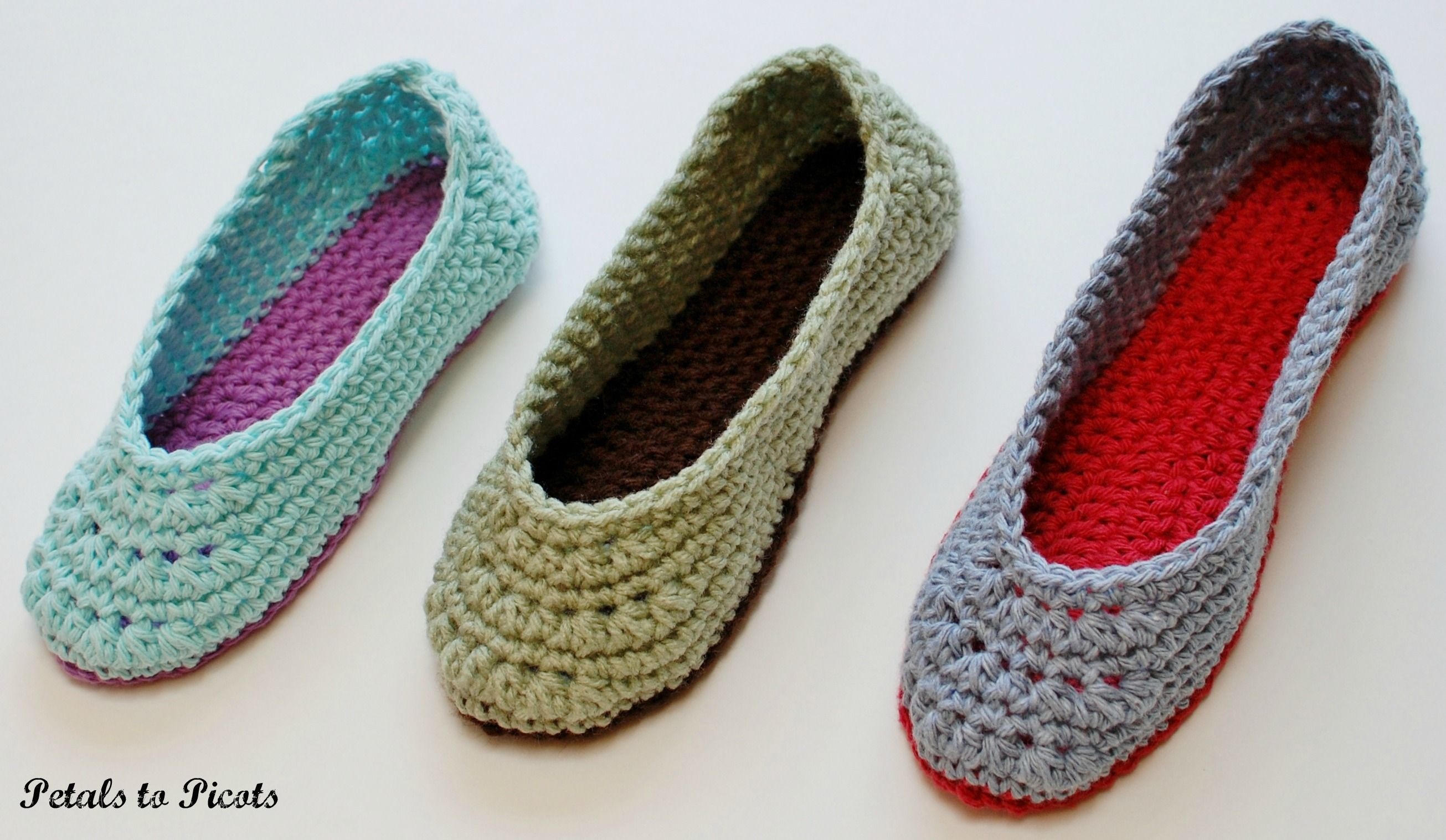 6371c796c16c0 Crochet Pattern - Ladies Slippers (Women's Sizes 4/5, 6/7, 8/9, 10 ...