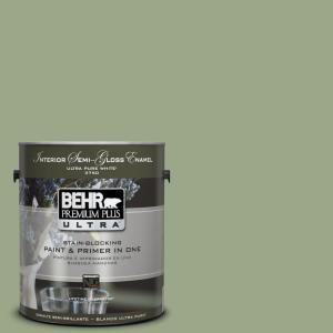 behr premium plus ultra 1 gal ppu11 7 clary sage semi gloss enamel interior paint