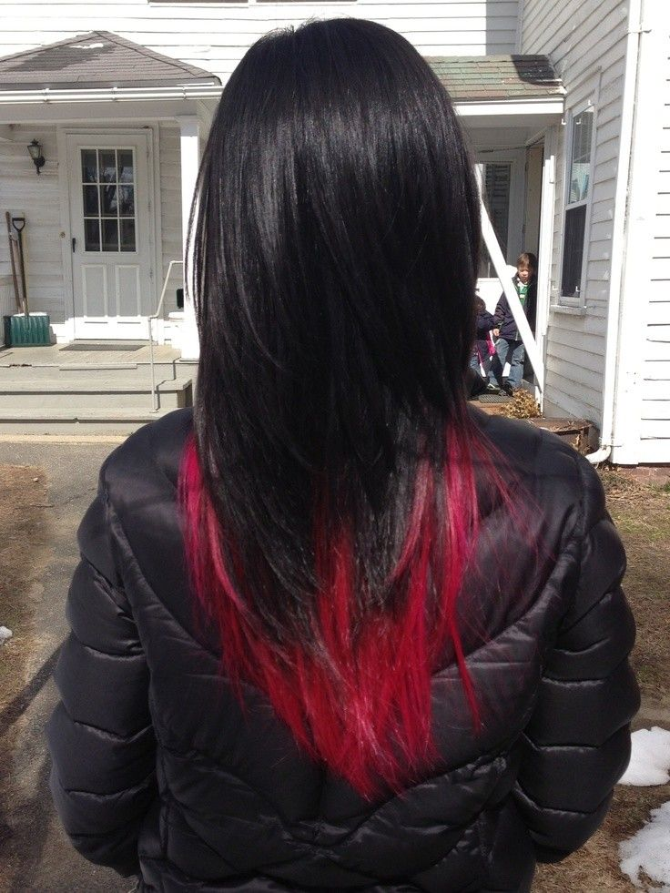 Black Hair With Red Underneath Tumblr Red Hair Tips Black Red Hair Hair Color For Black Hair