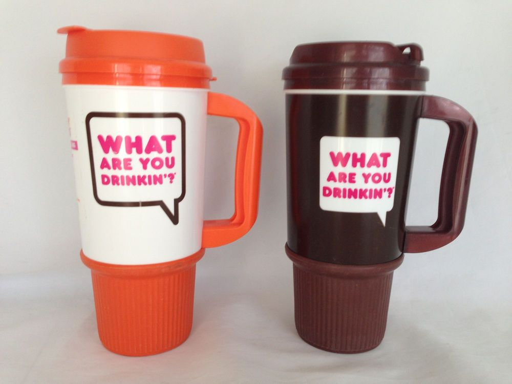 c1a3d0a4a55 2 Whirley Dunkin Donuts Large Insulated Plastic Travel Mugs Orange ...