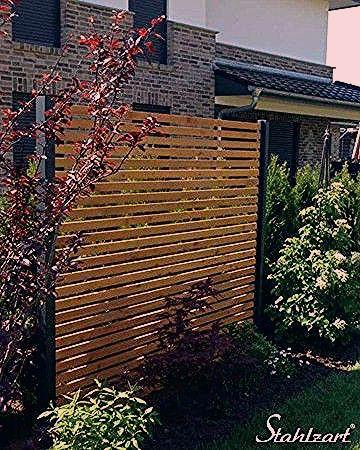 Photo of Sichtschutz Garten Holz Lärche Metall anthrazit modern · STAHLZART – My Blog