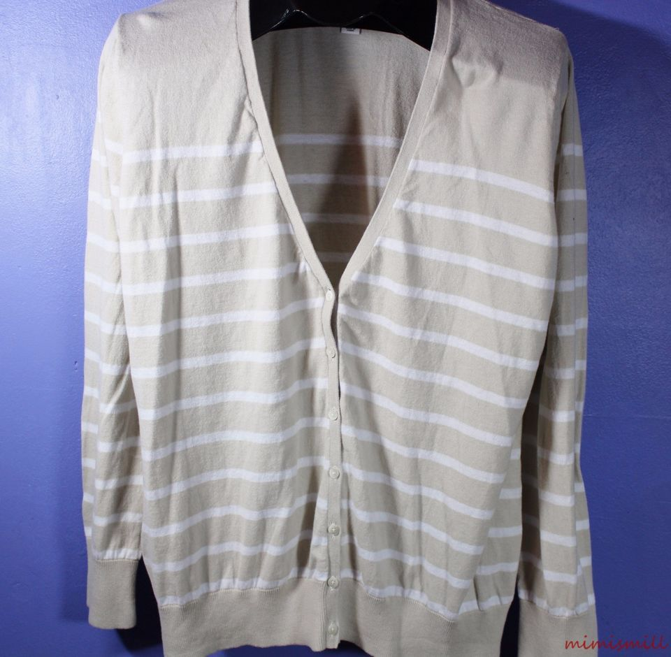Old Navy XXL Misses Tan and White Striped Lightweight Cardigan ...