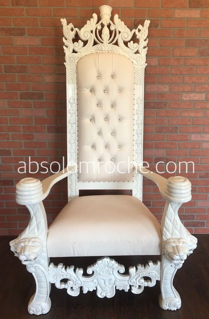King Henry Lion Throne Chair White White Products