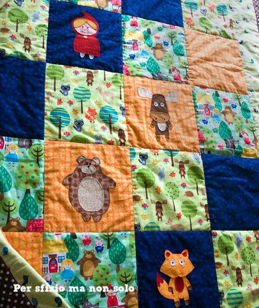 Per sfizio ma non solo: Cucito creativo - trapunta leggera patchwork per letto singolo con decorazioni appliquè