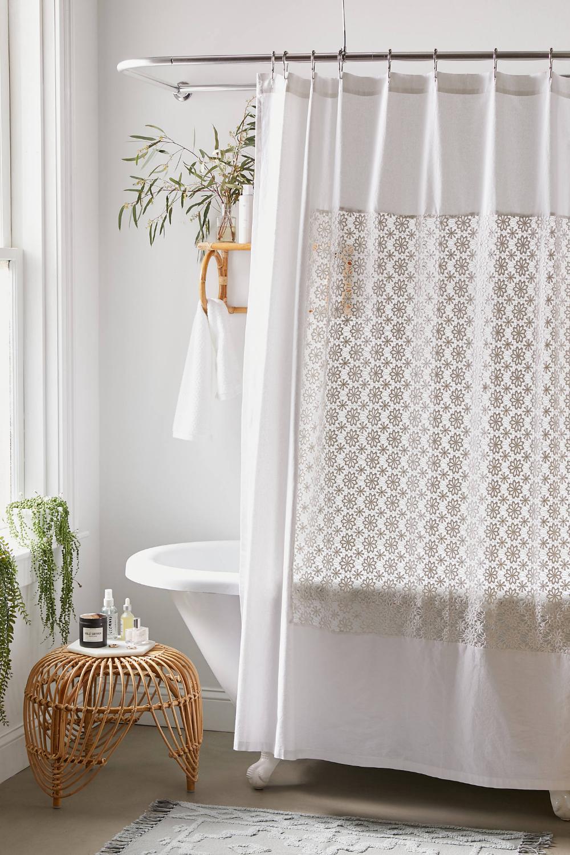 Winslow Crochet Inset Shower Curtain Curtains Small Shower