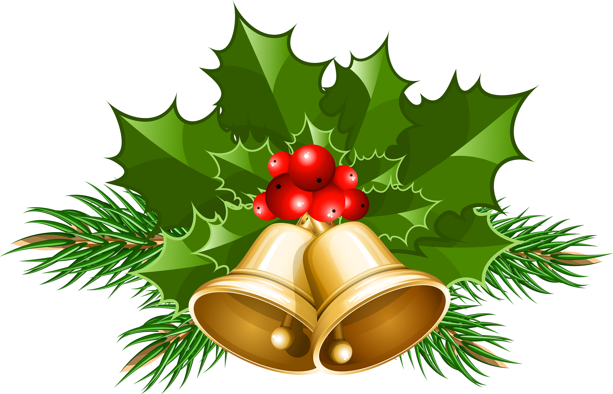 Christmas bells with holly clip art large | Christmas clipart, Christmas  images free, Christmas images