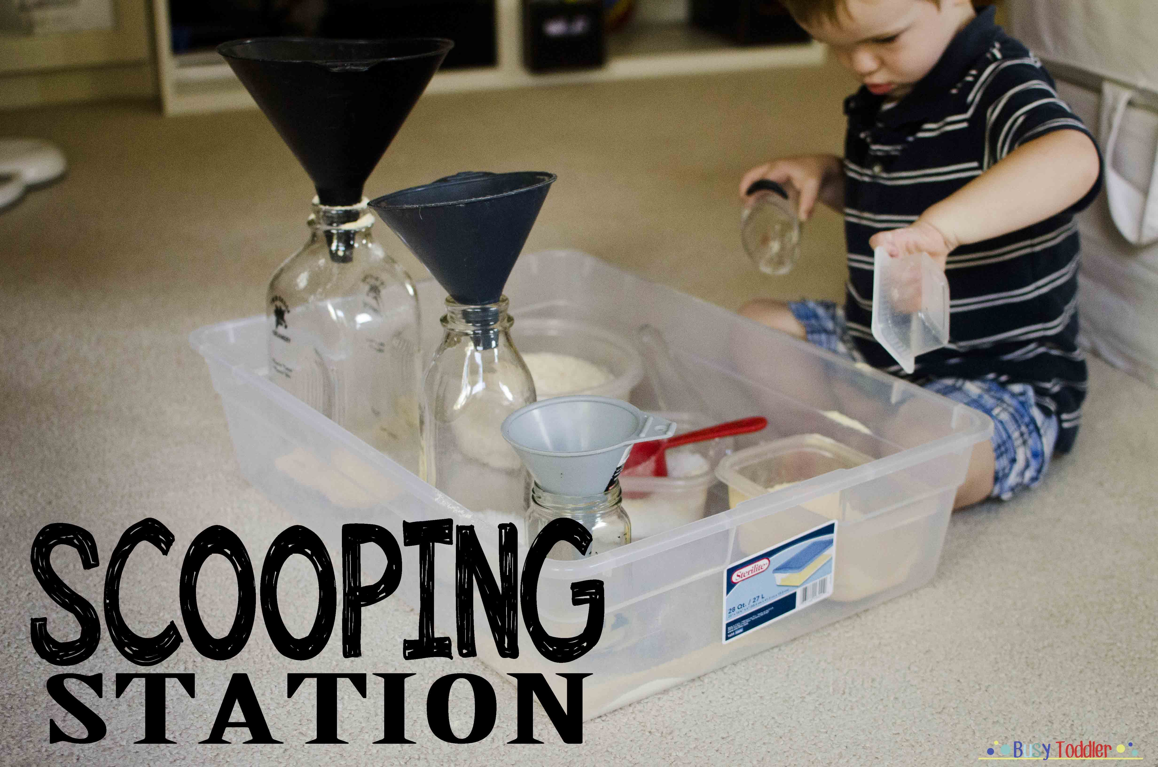 Scooping Station: a no-cost, high fun toddler activity