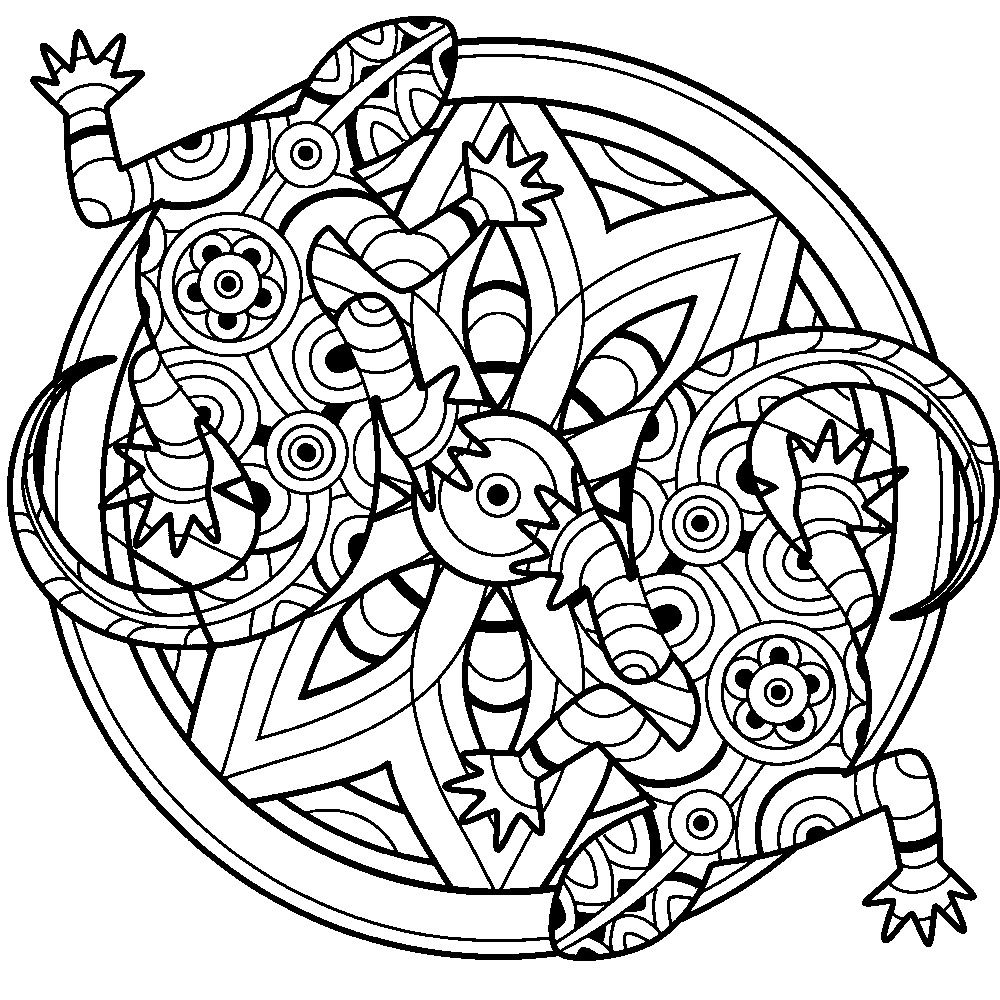Lizards Mandala Coloring Therapy Pages Abstract Coloring Pages Mandala Coloring Animal Coloring Pages