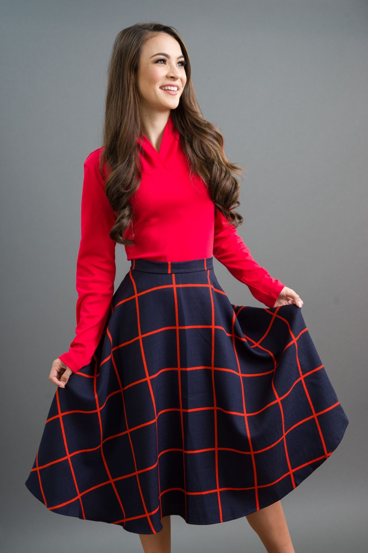 3d99cd63468d Love Love Love this skirt. Its lightweight poly crepe fabric Swing design,  side zip, Not quite midi below the knee length. We have paired each color  with a ...