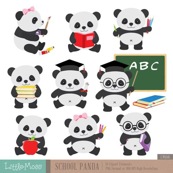 School Panda Clipart Back To School Clipart Etsy School Clipart Panda Decorations Clip Art