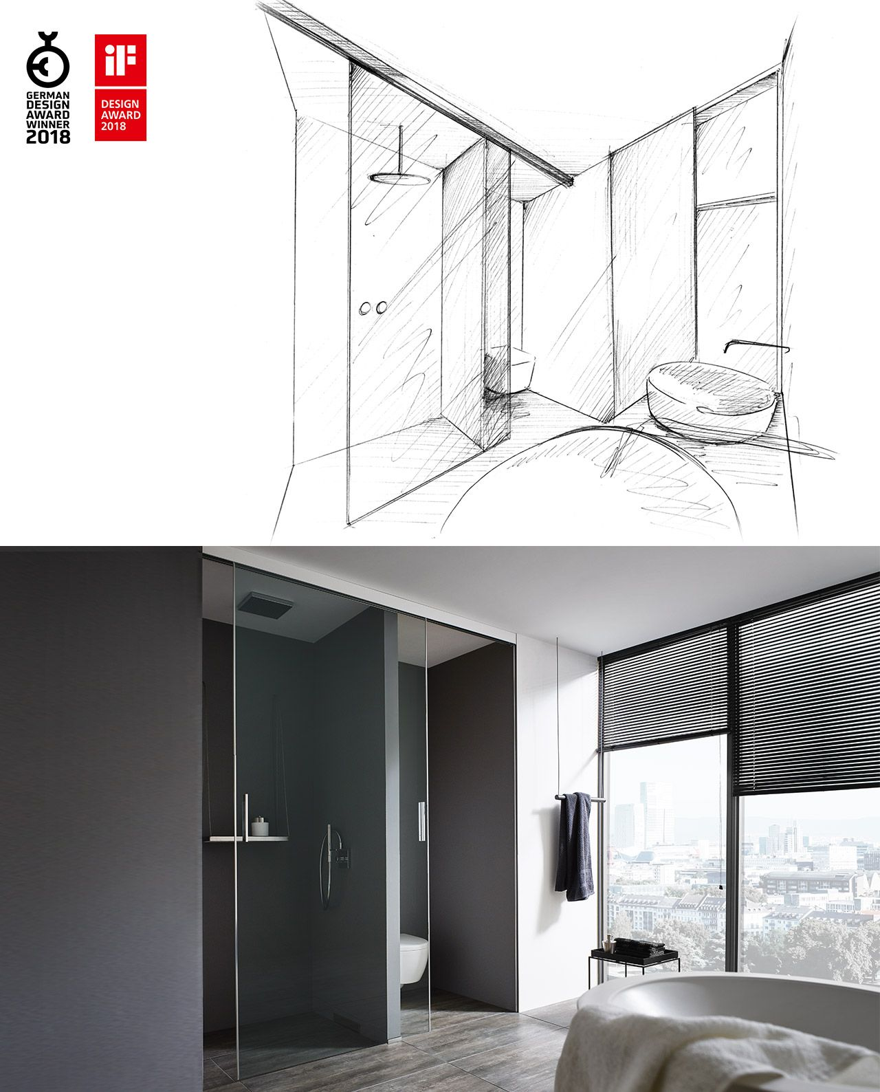From the first design sketch to the real product: room-high sliding ...