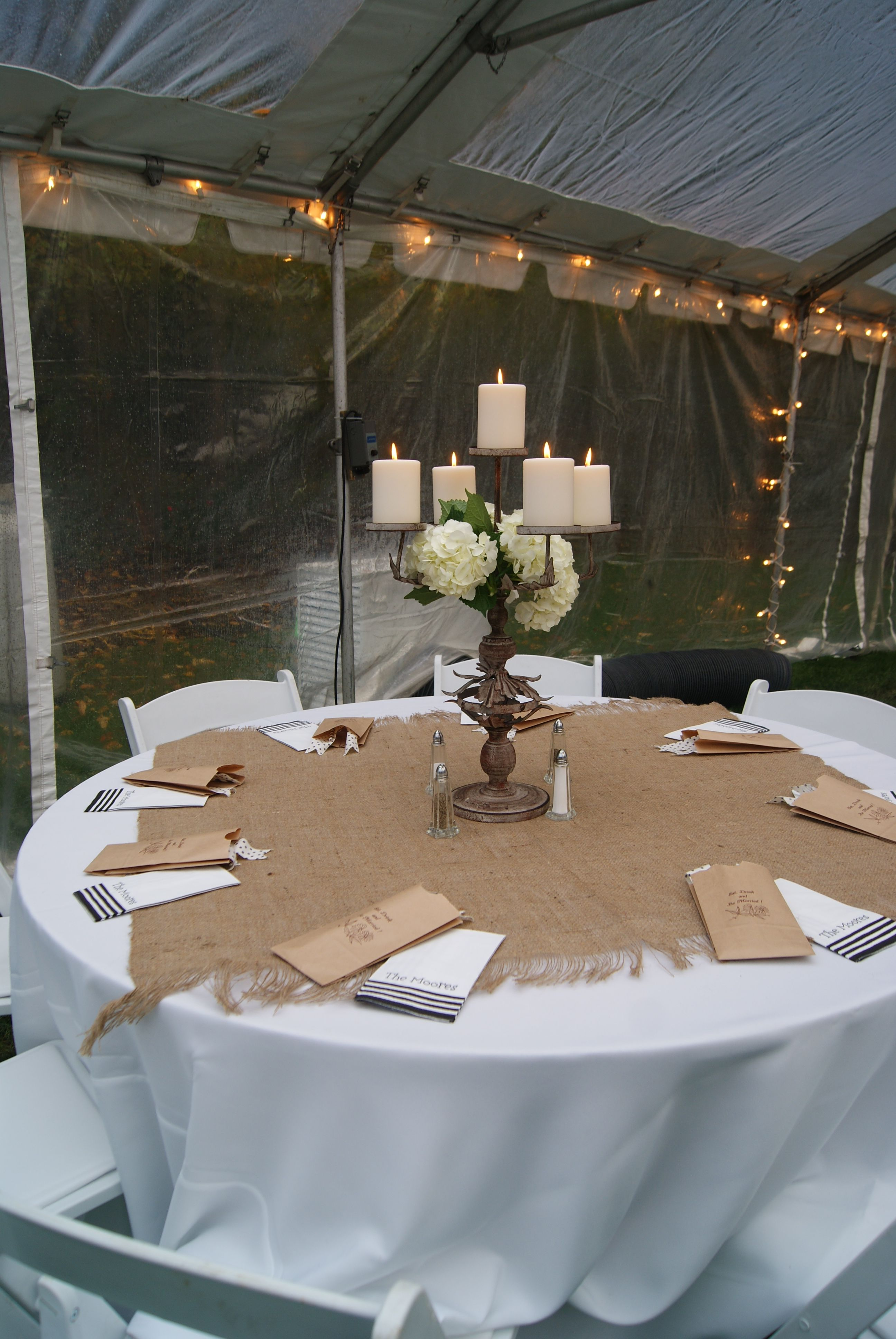 Reception. I like the burlap on top of the white table cloth! | Rehearsal  dinner decorations, Rustic rehearsal dinners, Wedding rehearsal dinner