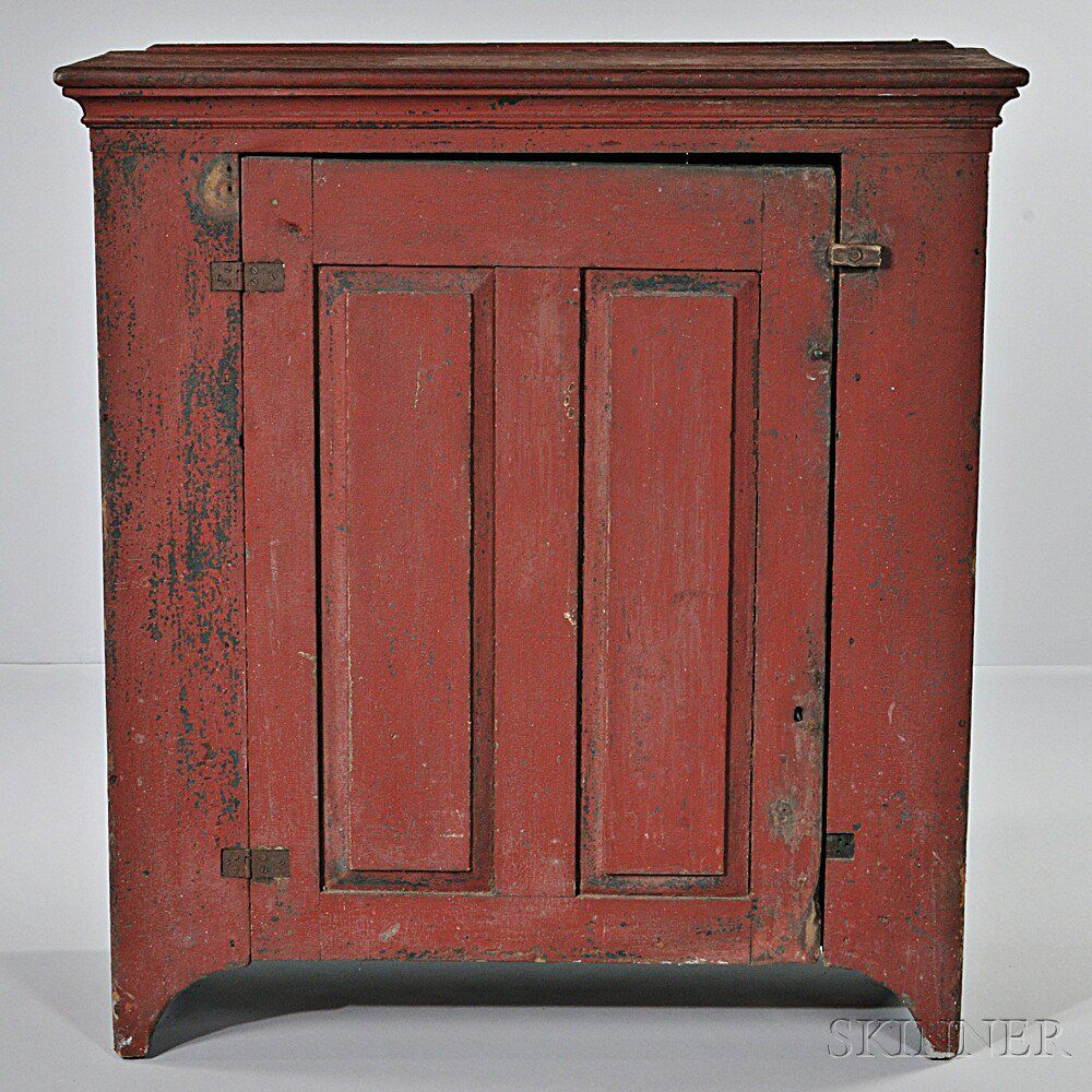 Red Painted Jelly Cupboard Possibly Pennsylvania Late 18th Early 19th Century The Rectangular Primitive Cabinets Primitive Furniture Vintage Farmhouse Decor