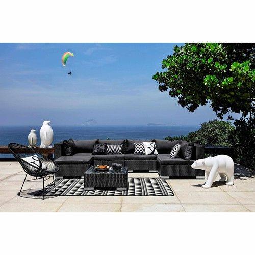 Canapé d\'angle de jardin en résine tressée noir | Rooftop gardens