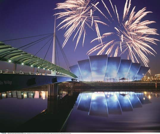 Fireworks bursting over the Scottish Exhibition and Conference Centre, Glasgow