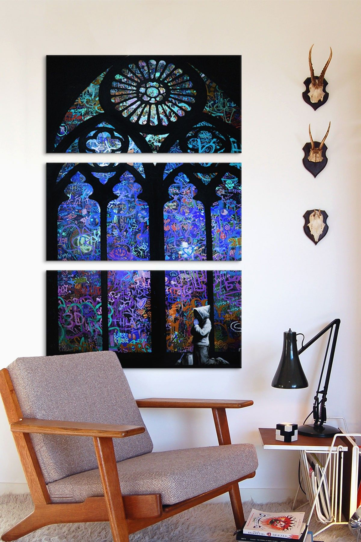 3 window bedroom ideas  stained glass window ii  panel sectional wall art  h o m e