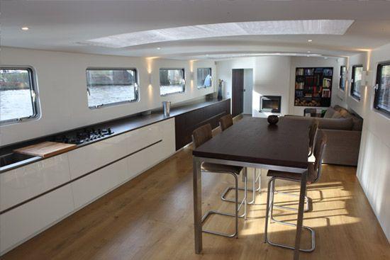 Modern interieur woonschip architect amsterdam boot pinterest