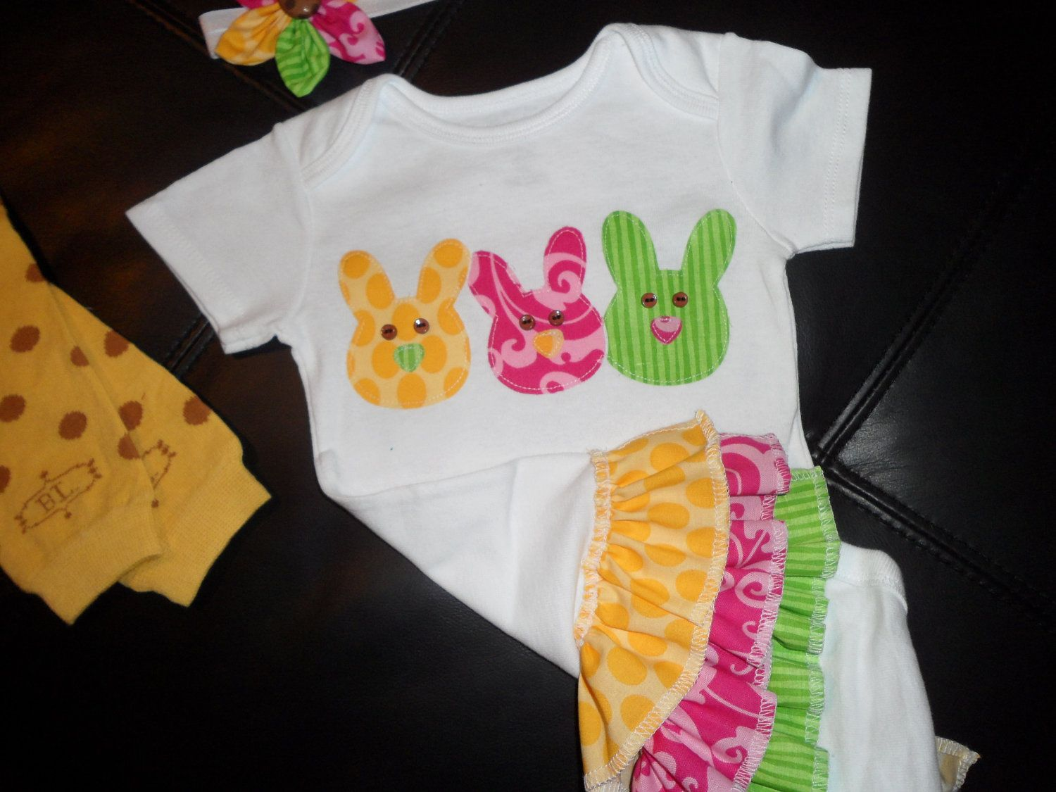 Easter Peep Rufflebum outfit with matching by SewSimplySweetShop, $37.00
