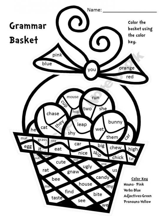 Grammar Basket-Nouns, verbs, pronouns, adjectives-Color By