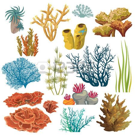 coral reef underwater set of cartoon underwater plants and