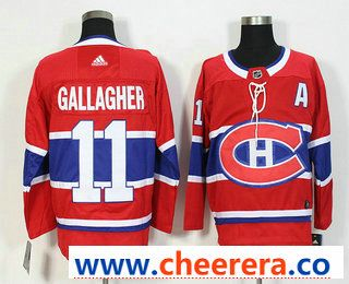 best loved 8803e 5331d Men's Montreal Canadiens #11 Brendan Gallagher Red With A ...