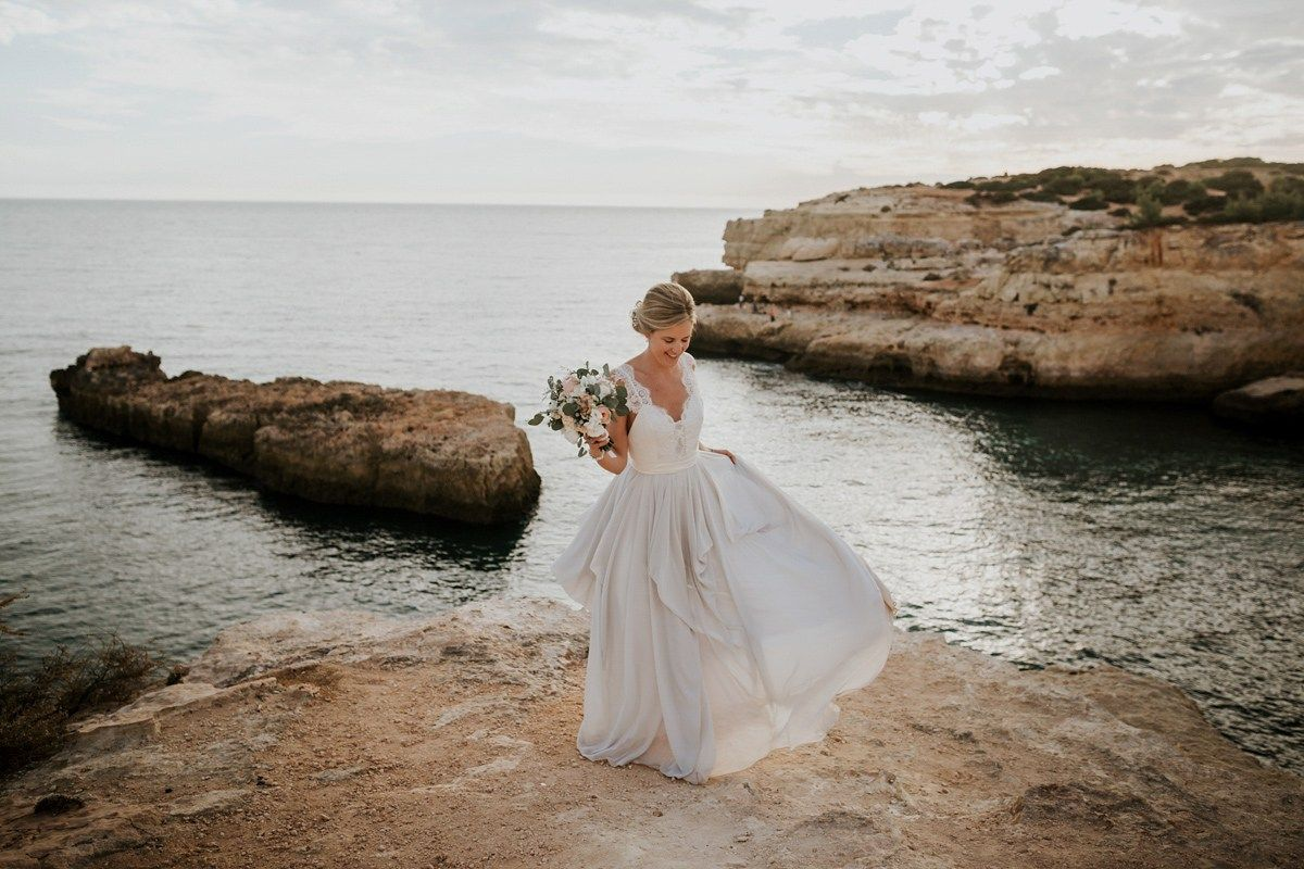 A Two-Toned Truvelle Dress for a Romantic Waterside Wedding in Portugal