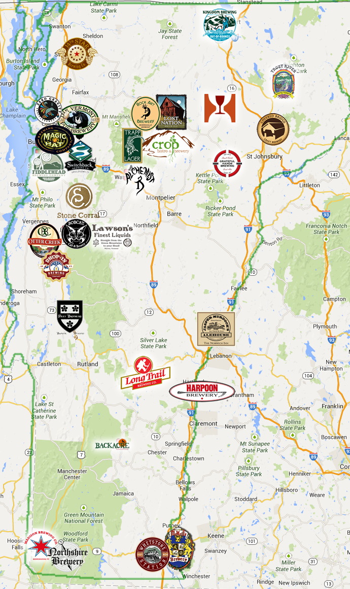 Vermont Brewery Trail Please check their site for the most current