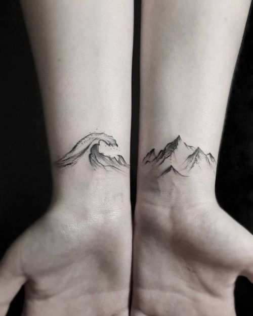 d3a73aa30 Matching wave and mountain tattoos on the inner wrist. Tattoo ...