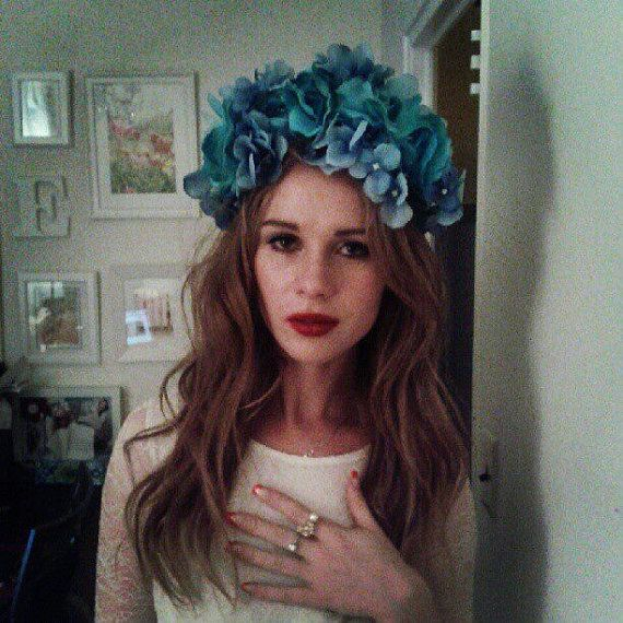 Blue Teal White Lana Del Rey Flower Crown Born To Die Lana Del Rey Flower Crown Halloween Flower Crown Outfit Thin Headbands Flowers In Hair