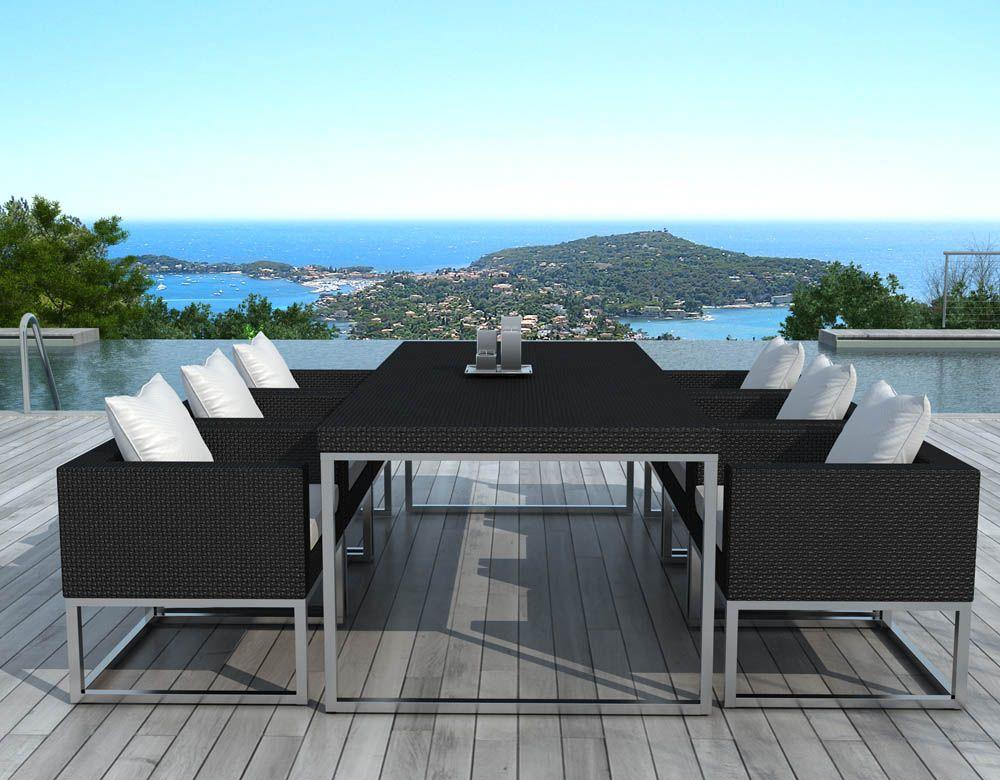 Salon de jardin design 1 table + 6 fauteuils sur | Salon de jardin ...