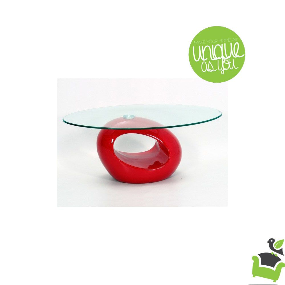 Jacob Contemporary Oval High Gloss Gl Coffee Table In Red Tables