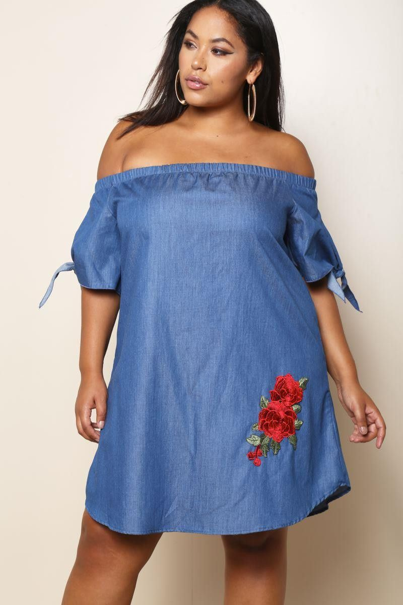 Plus Size Barre Shoulder Floral Patch Dress Medium Denim Wash