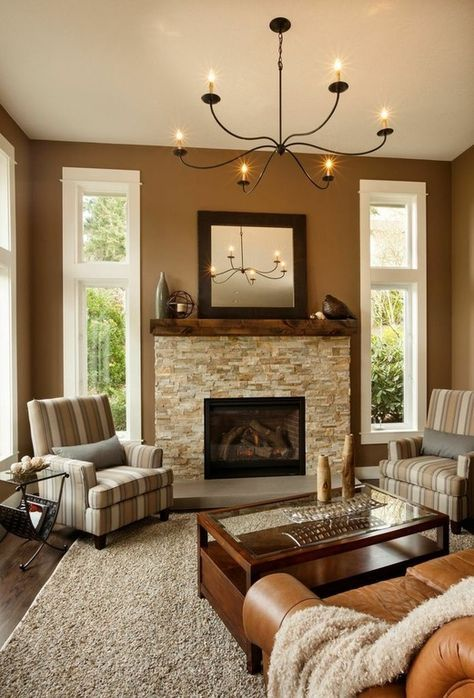 traditional living room with veneerstone imperial stack on small laundry room paint ideas with brown furniture colors id=33728