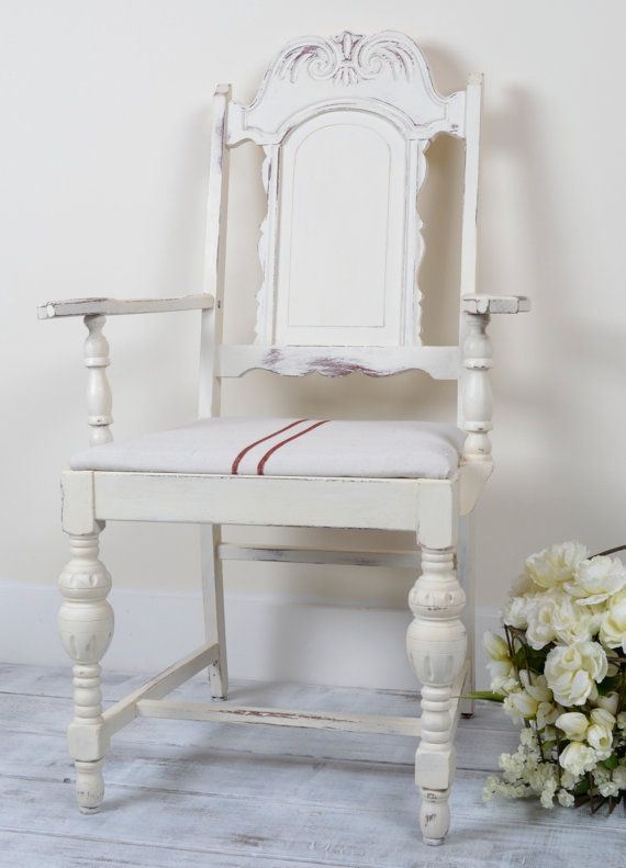 Rustic White Farmhouse Chair With Grain By Chicandshabbystudio Farmhouse Chairs Rustic White White Farmhouse