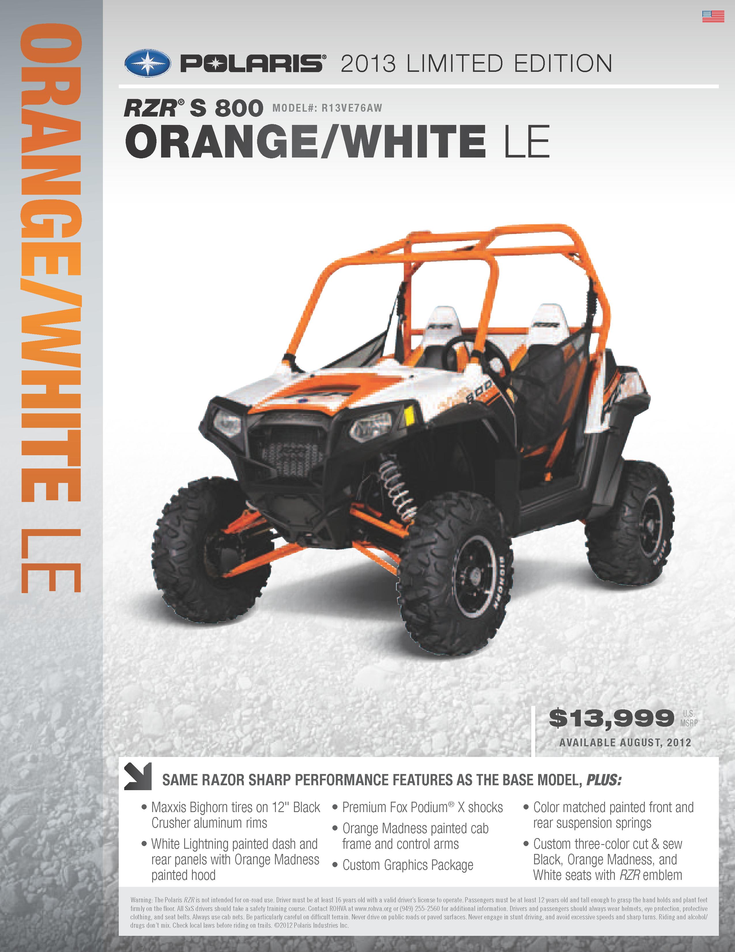 medium resolution of 2013 polaris ranger rzr s 800 orange and white le