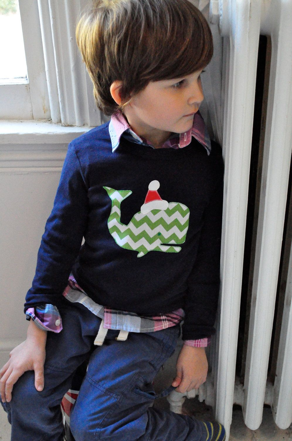 Christmas Shirt Santa Ugly Christmas Sweater Preppy Chevron Whale in Green, Red and White on Navy.