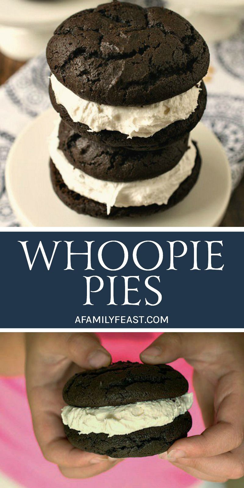 Whoopie Pies Whoopie Pies are a classic New England dessert. Fudgy chocolate cake sandwiching a creamy and sweet marshmallow filling. So good!