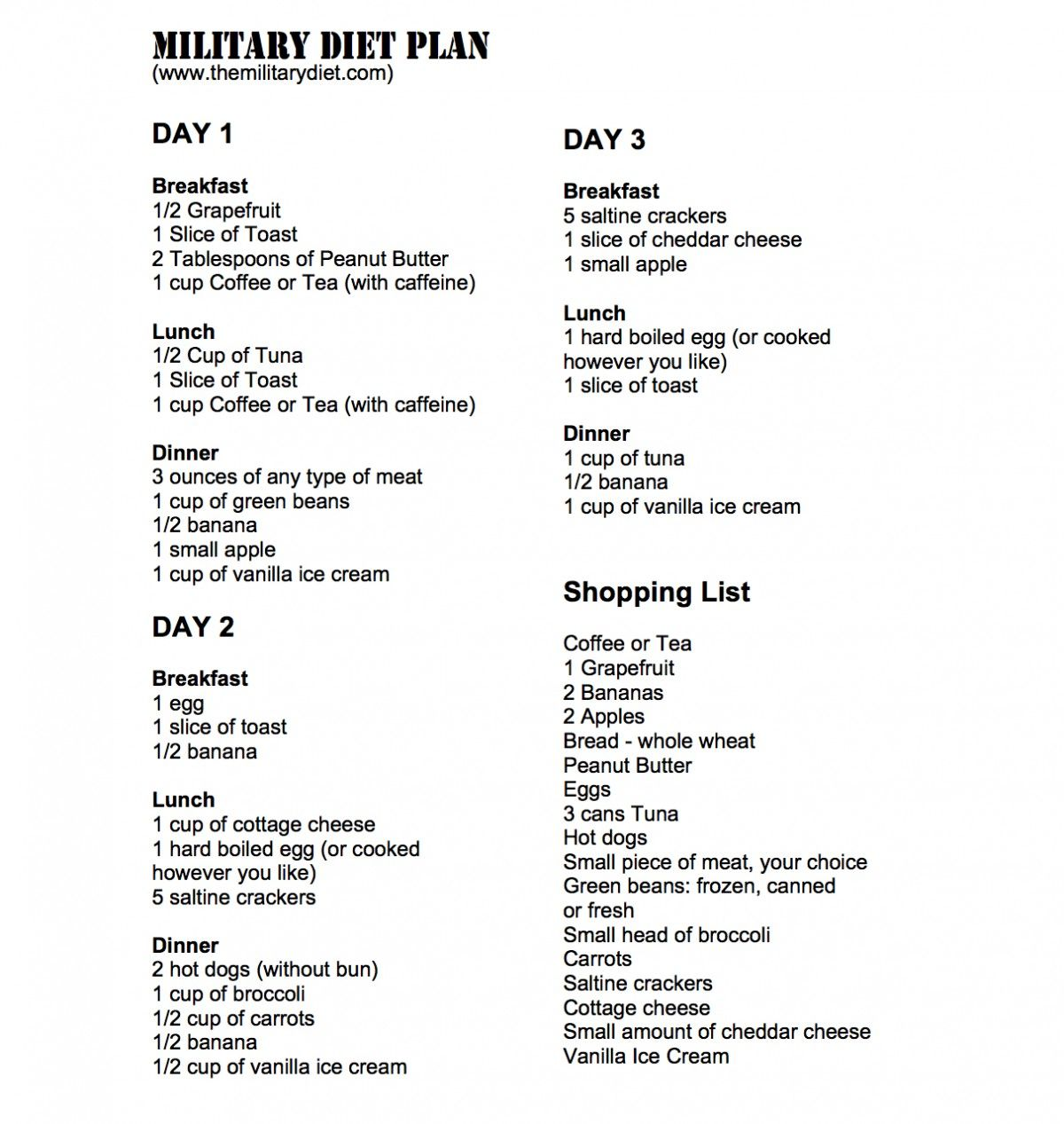military diet plan 3 day diet drop 10 pounds easily | healthy