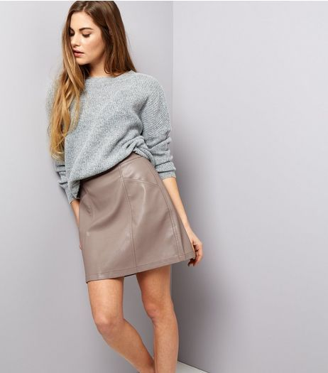 Mink Seam Trim Leather-Look Mini Skirt   New Look   Outfit ...