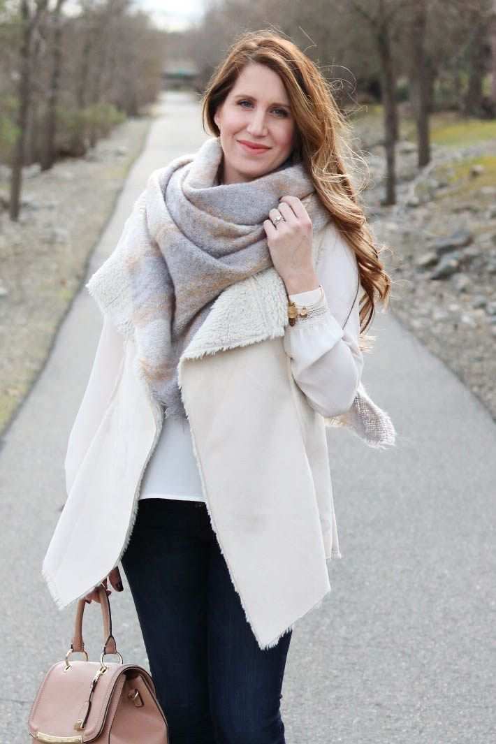 90dc32cd6a51b Gray & Cream – She Knows Chic, fall fashion, fall style outfit, shearling  vest, gray scarf