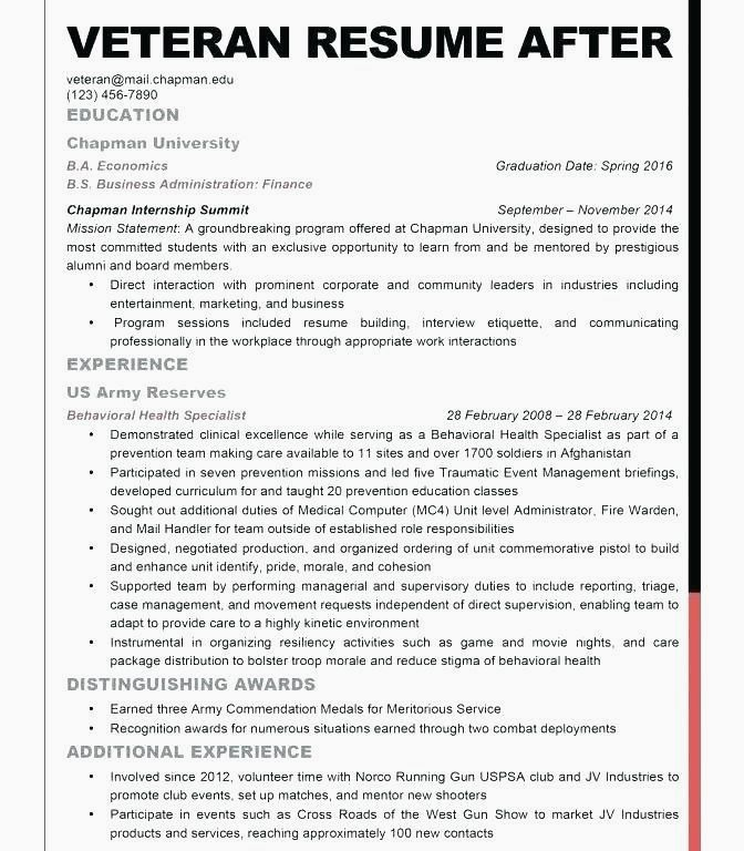 Military Veteran Resume Examples Best Of Army To Civilian