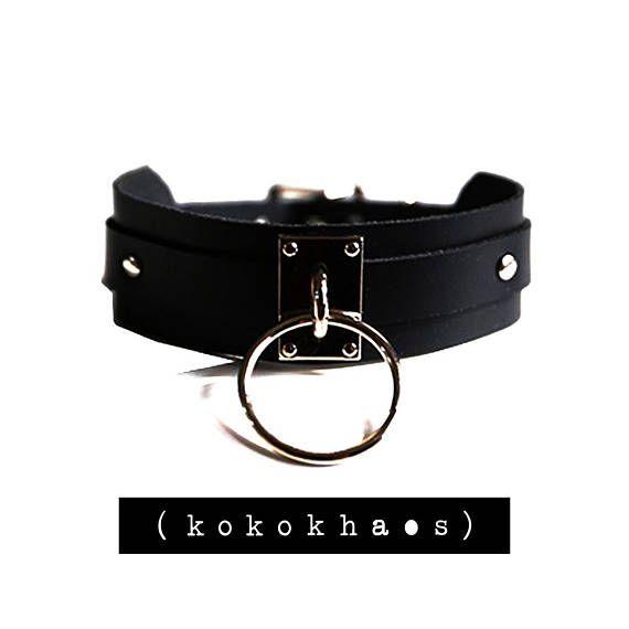 fdb065905213d Black Leather O Ring Choker, Black O Choker, Black Leather Choker ...