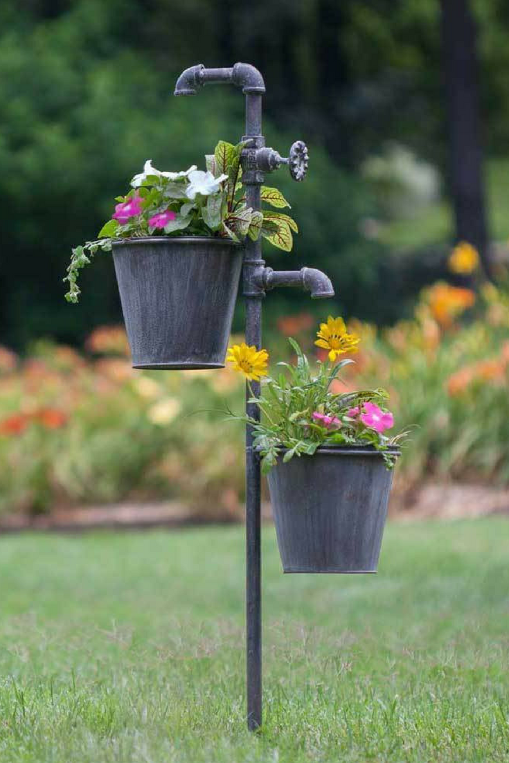 Flower Garden Stakes Metal Decorative Planter Plants Pots Lawn Yard Decoration is part of garden Decoration Planters - Flower Garden Stakes This double plant holder stake will hold two plants at the same time  This piece measures 40  tall and 15  spread from plant holder to plant holder  7  dia  flower pots are included  Flower Garden Stakes CTW420004 Only
