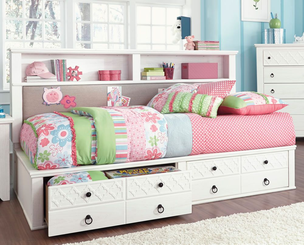 white full size bed with storage