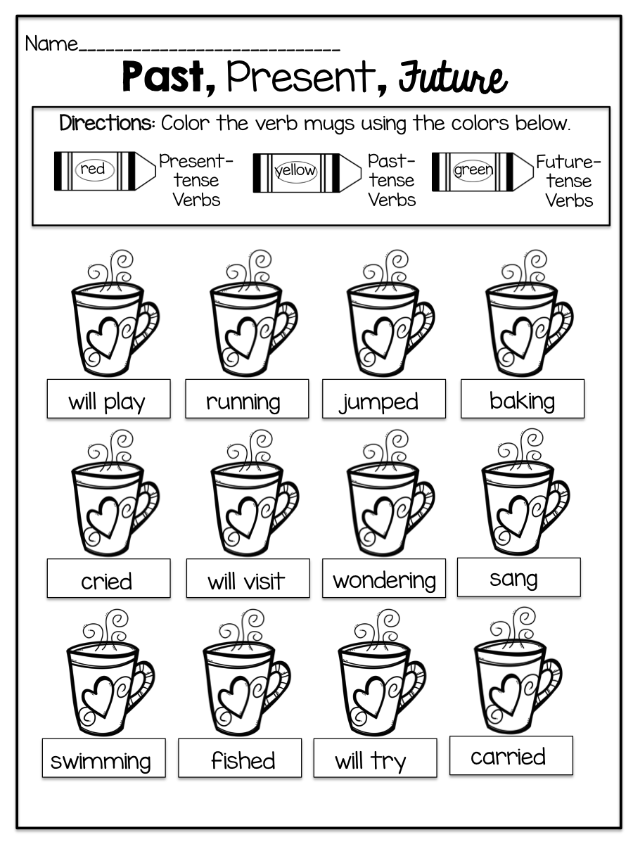 Alluring Worksheet Verb Tense Consistency with Action Verbs Past ...