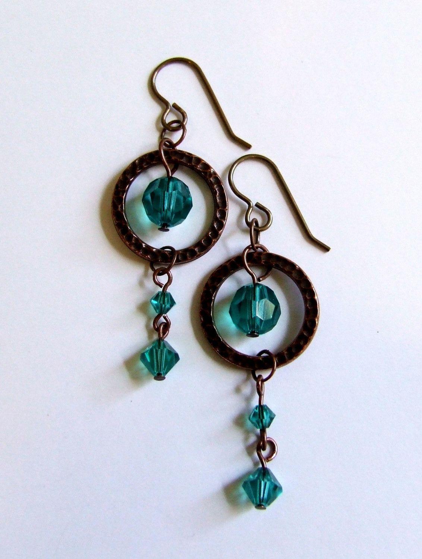 Brassy Emerald Swarovski Earrings