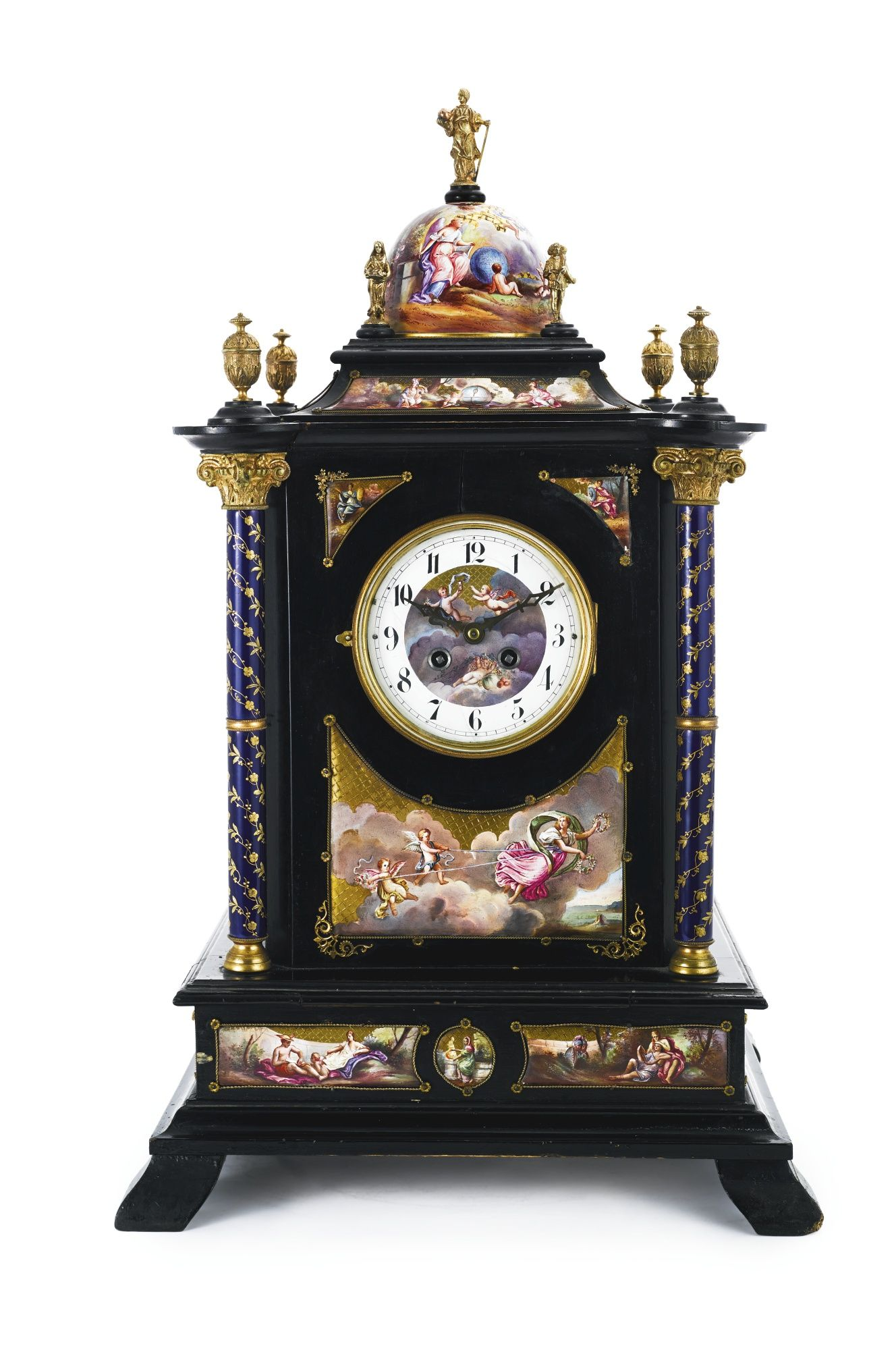 An Austrian Silver Gilt Enamel And Wood Table Clock Cabinet Vienna Circa 1900 Lot Clock Antique Clocks Table Clock