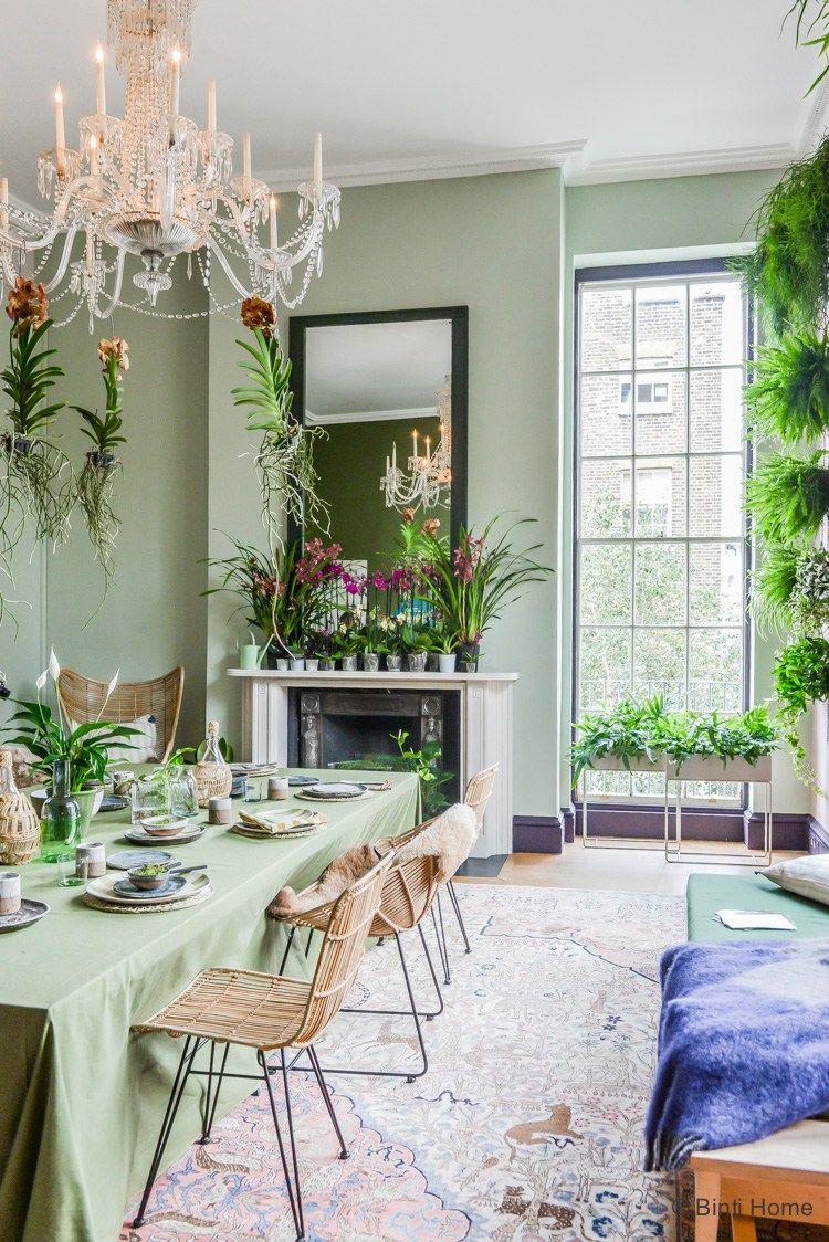Huis inrichten bohemian botanisch romantisch eetkamer ©BintiHome ...