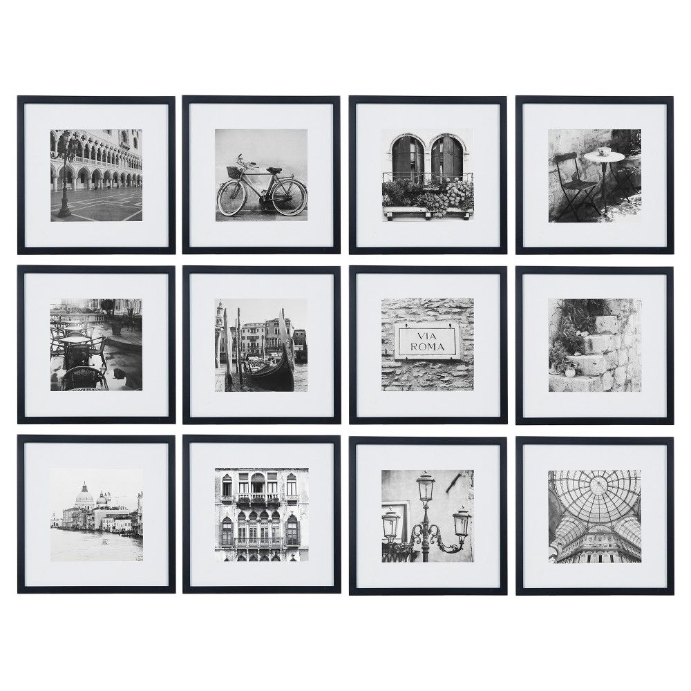 12pc 12 X 12 Black Frame Kit Matted To 7 5 X 7 5 Gallery Perfect Gallery Wall Frames Photo Wall Gallery Gallery Wall Kit